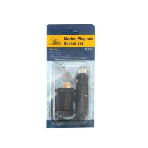 Marine plug and socket set, 12V